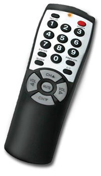 BR100 low cost TV remote for Hotels and Assisted Living